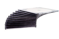 Stack of compact discs. In step formation on white isolated background Stock Images