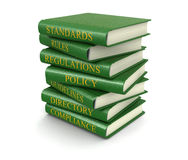 Stack of compliance and rules books (clipping path included) Royalty Free Stock Photography