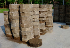 A stack of concrete blocks. A stack of hexagonal concrete blocks Stock Image