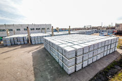 Stack of concrete blocks near outside house-building factory Royalty Free Stock Image