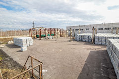 Stack of concrete blocks near outside house-building factory Royalty Free Stock Photography