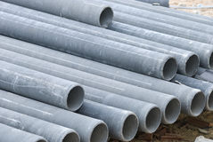 Stack concrete drainage pipe in construction site Stock Photography