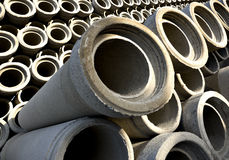 Stack of concrete drainage pipes Stock Photos
