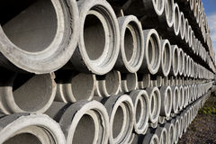 Stack of concrete drainage pipes Stock Photography