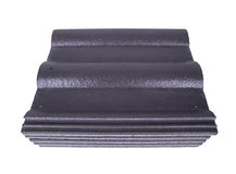 Stack of concrete roof tile (gray color) on white Stock Image