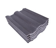 Stack of concrete roof tile (gray color) on white Stock Images