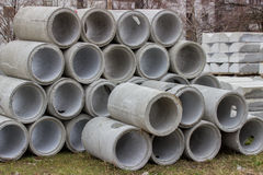 Stack of concrete sewer pipes Stock Photography