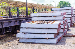 Stack of concrete sleeper Royalty Free Stock Photo