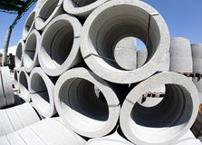 Stack of concrete tubes Royalty Free Stock Photography
