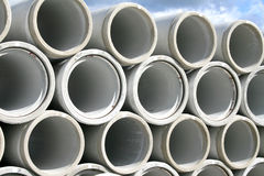 Stack of concrete water pipes Royalty Free Stock Images