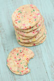 Stack of Confetti Cookies With One Bitten Stock Photography