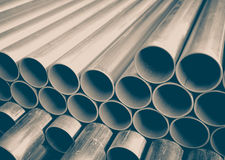 Stack of construction metal pipes Royalty Free Stock Photo