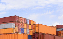 The stack of container storage on the ship yard Stock Image