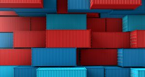 Stack of containers box, Cargo freight ship on top view. 3D rendering royalty free illustration