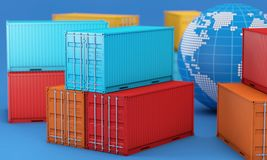 Stack of containers box, worldwide of  import export business. Stack of containers box, worldwide of import export logistics business, 3d rendering Stock Images