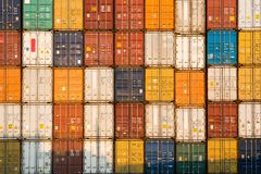 Stack of containers. Frontal view of a Stack of containers royalty free stock photo