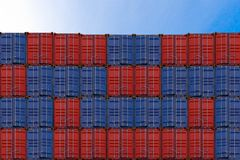 Stack of containers in a harbor, Containers box from cargo freight ship for import export, Logistic concept stock photos