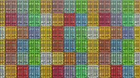 Stack of containers in a harbor, shipping at dockyard, logistic import and export, in colorful bright color, seamless