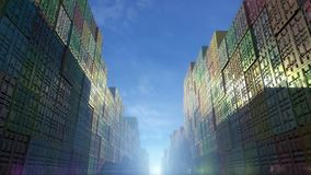 Stack of containers in a harbor, shipping at dockyard, logistic import and export, sun dramatic light, day light summer