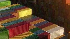Stack of containers in a harbor, shipping at dockyard, logistic import and export, sunset light, seamless infinite loop