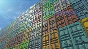 Stack of containers in a harbor, shipping at dockyard, logistic import and export, in normal day color, bottom angle