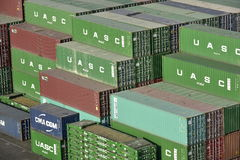 Stack of Containers, Harbour of Khor Fakkan, United Arab Emirates Stock Images