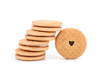Stack of cookie biscuits with filling. Royalty Free Stock Photos