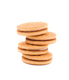 Stack of cookie biscuits with filling. Royalty Free Stock Photography