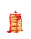 Stack of cookie biscuits in strawberry sauce. Royalty Free Stock Photography