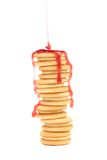 Stack of cookie biscuits in strawberry sauce. Stock Photography