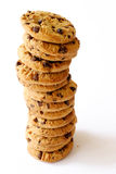 Stack of cookies. Stack of chocolate chip cookies against a white background Stock Photography