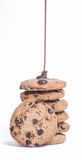 Stack of cookies. Big stack of delicious chocolate cookies covered by liquid chocolate Royalty Free Stock Image