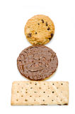 Stack of cookies, biscuits with chocolate chips raisins on white Royalty Free Stock Photography