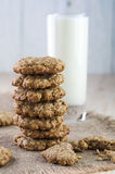 Stack of cookies on burlap napkin Stock Images