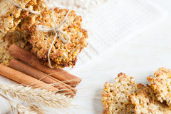 Stack of cookies and cereal ears of wheat Royalty Free Stock Photos