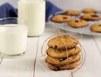 Stack of cookies with chocolate on a table. stock photo
