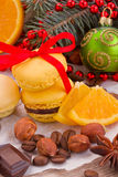 Stack of cookies with christmas  decorations Stock Photo