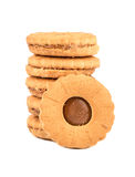 Stack of cookies. With condensed milk inside on white background Royalty Free Stock Images