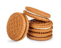 Stack of cookies with cream Stock Images