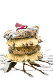 Stack of  cookies decorated with chocolate Stock Images