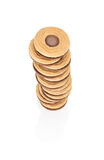 Stack of cookies with the filling seen from above. Royalty Free Stock Photos