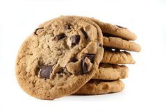 Stack cookies on isolated background stock photography