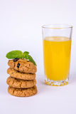A stack of cookies and juice Royalty Free Stock Photo