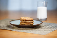 Stack of cookies & milk Royalty Free Stock Photos