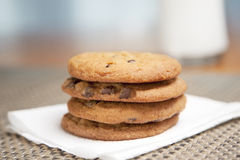 Stack of cookies & milk Stock Photography