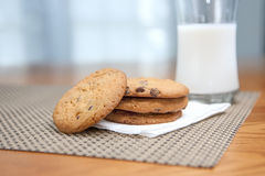 Stack of cookies & milk royalty free stock photography
