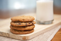 Stack of cookies & milk Stock Image