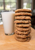 Stack of Cookies and Milk Royalty Free Stock Photos