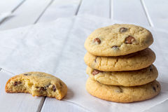 Stack Cookies with One Partly Eaten with Copy Space Royalty Free Stock Photography