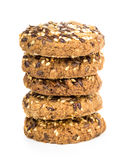 Stack of cookies with sesame and sunflower seeds on white Stock Images
